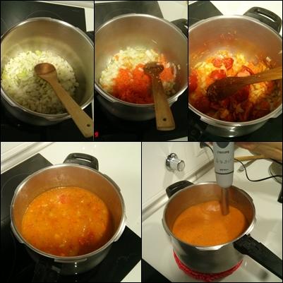 Pasos principales para la elaboración: 1. Añadimos la cebolla 2. Añadimos la zanahoria 3. Añadimos el tomate 4. Hervimos 15 minutos 5. Batimos y colamos